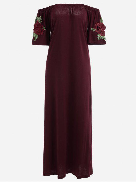Floral Patched Off The Shoulder Dress - Rouge vineux  S