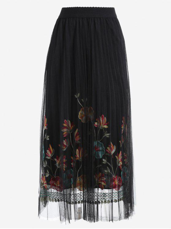 trendy High Waist Floral Mesh Panel Skirt - BLACK ONE SIZE