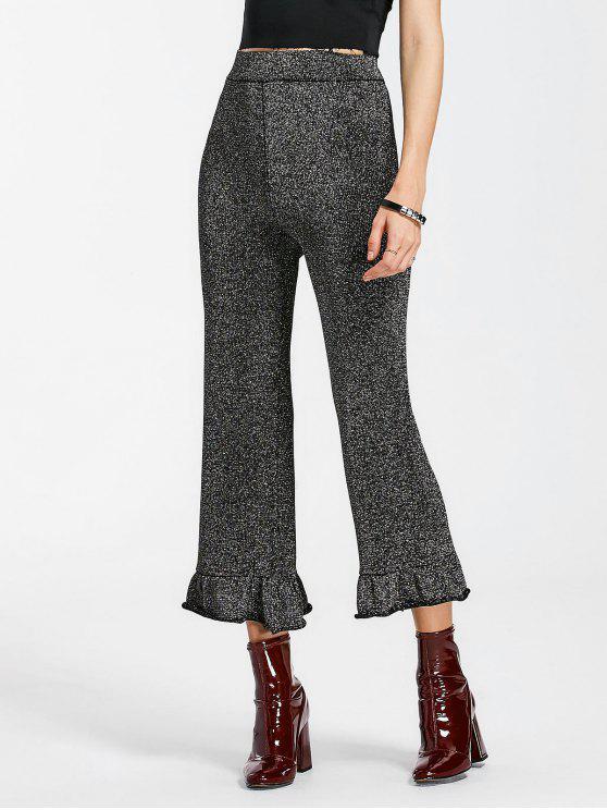 Pantalones de brillo de la cintura de la cintura alta del brillo - Negro Gris M