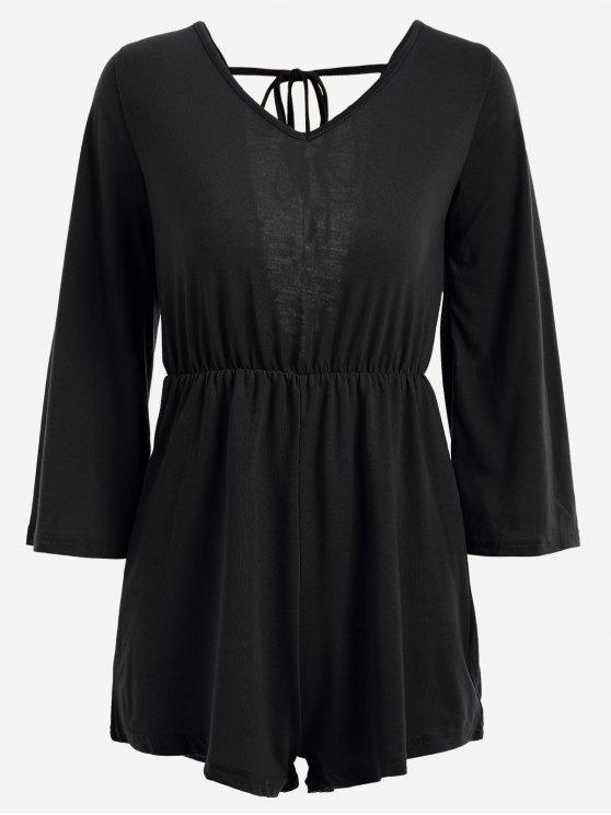 V Shaped Back Tassels Romper - Noir M