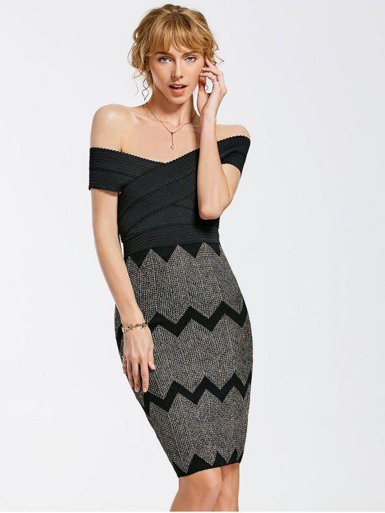 latest Zig Zag Off Shoulder Bodycon Dress - BLACK ONE SIZE