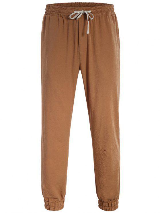 shops Men Drawstring Jogger Pants - LIGHT BROWN 4XL