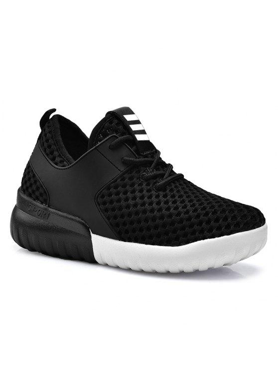 Faux Leather Insert Mesh Respirável Athletic Shoes - Preto 37