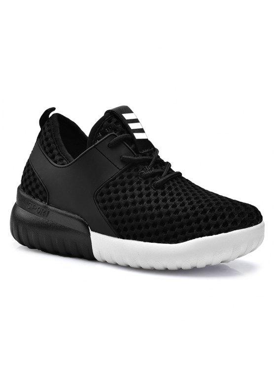 Falso cuero insertar malla de zapatos deportivos transpirables - Negro 38