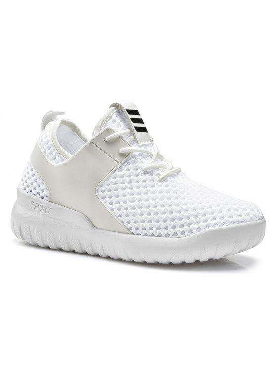 Falso cuero insertar malla de zapatos deportivos transpirables - Blanco 37