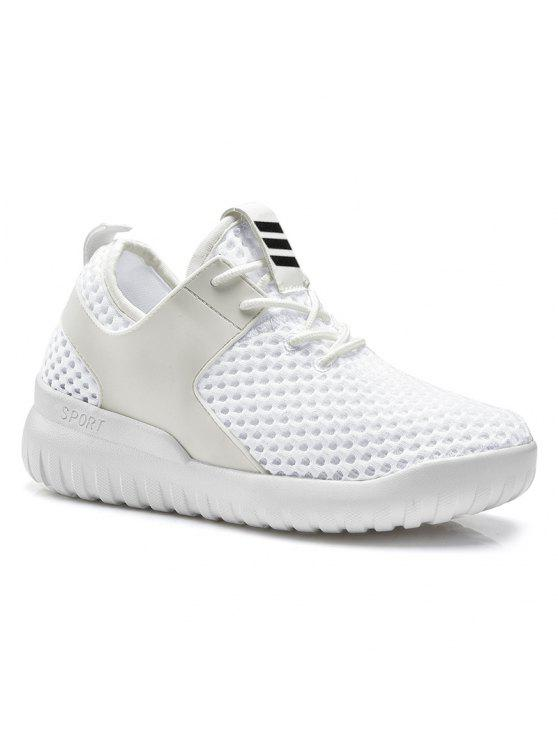 latest Faux Leather Insert Mesh Breathable Athletic Shoes - WHITE 38