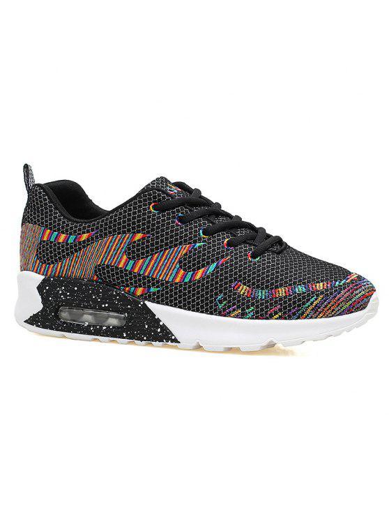 Couro Multicolor Air Athletic Shoes - Preto 39