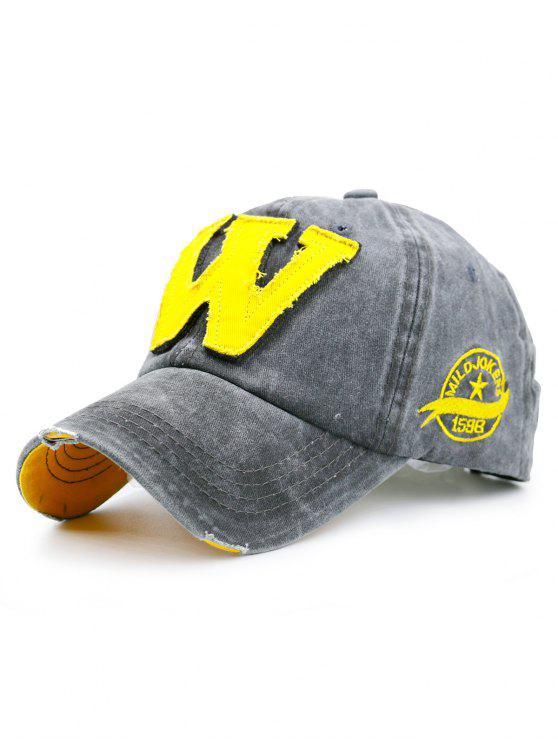 حرف W قبعة مزين جعل البيسبول القديمة - اللون الرمادي