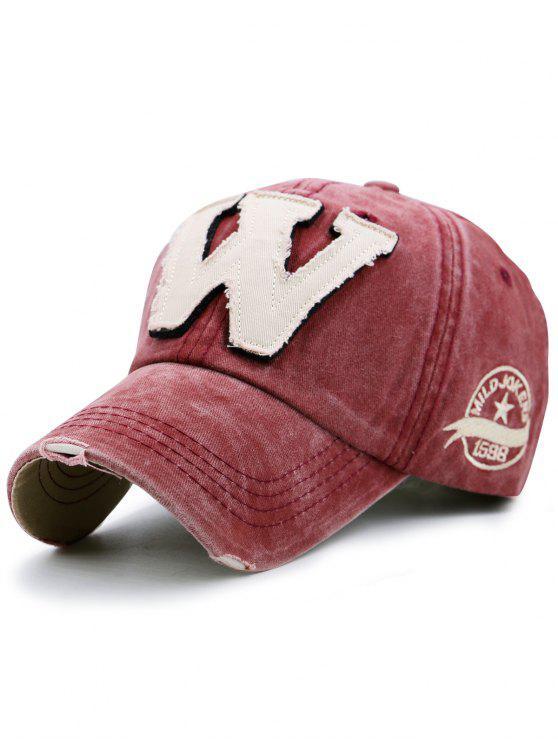 حرف W مزين جعل قبعة البيسبول القديمة - نبيذ أحمر