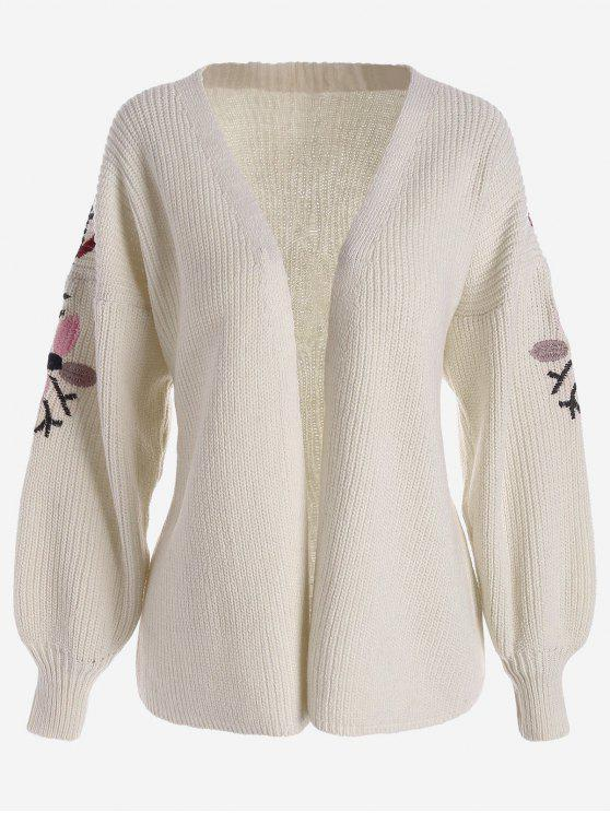 sale Floral Embroidered Lantern Sleeve Cardigan - OFF-WHITE ONE SIZE