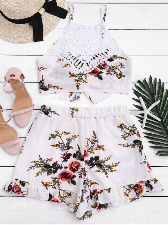 buy Lace Panel Floral Top and Shorts Set - FLORAL M