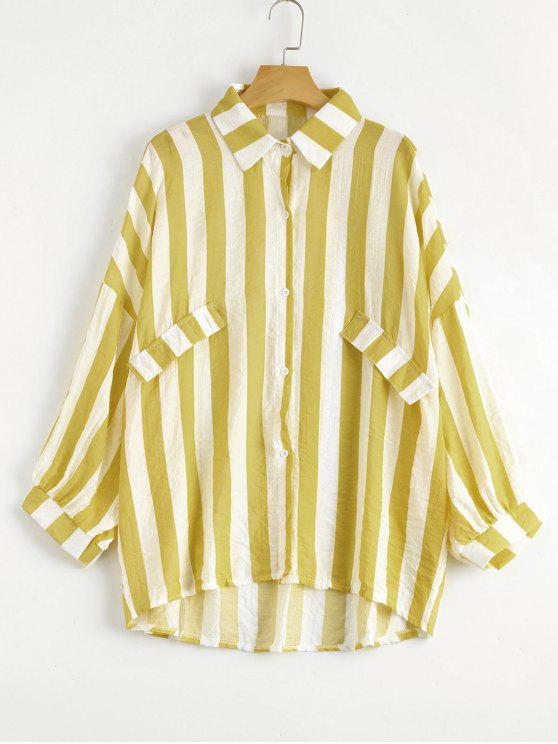 fancy Oversized Button Up Striped Blouse - GINGER ONE SIZE