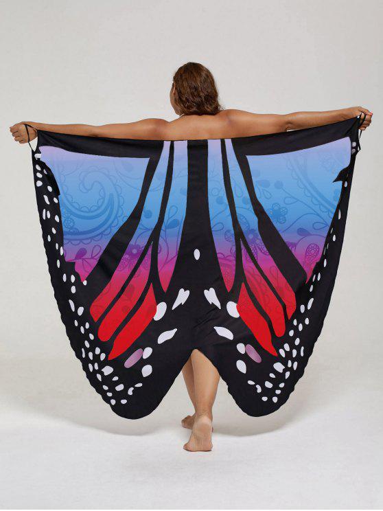 فستان الحجم الكبير طباعة الفراشة لف - ازرق واحمر XL