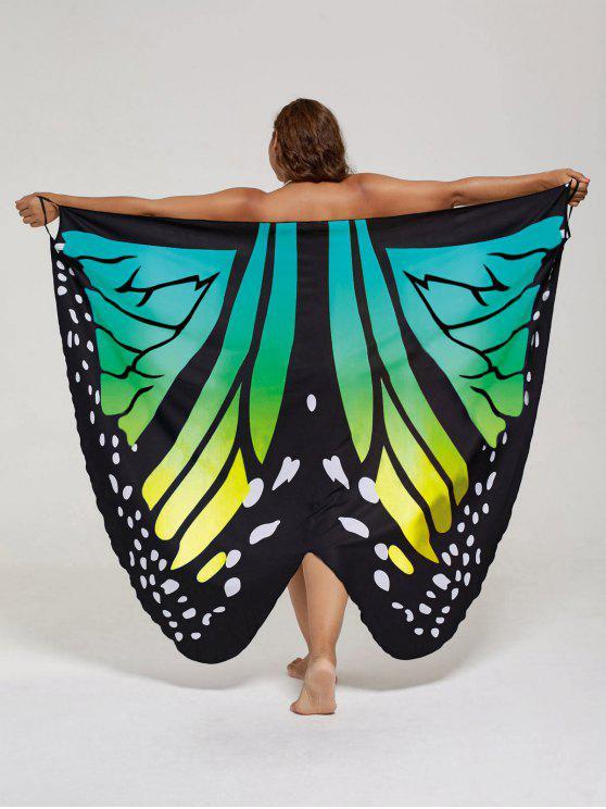 فستان الحجم الكبير طباعة الفراشة لف - الأصفر والأخضر XL