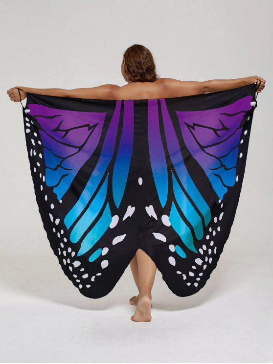 فستان الحجم الكبير طباعة الفراشة لف - أزرق + بنفسجي XL