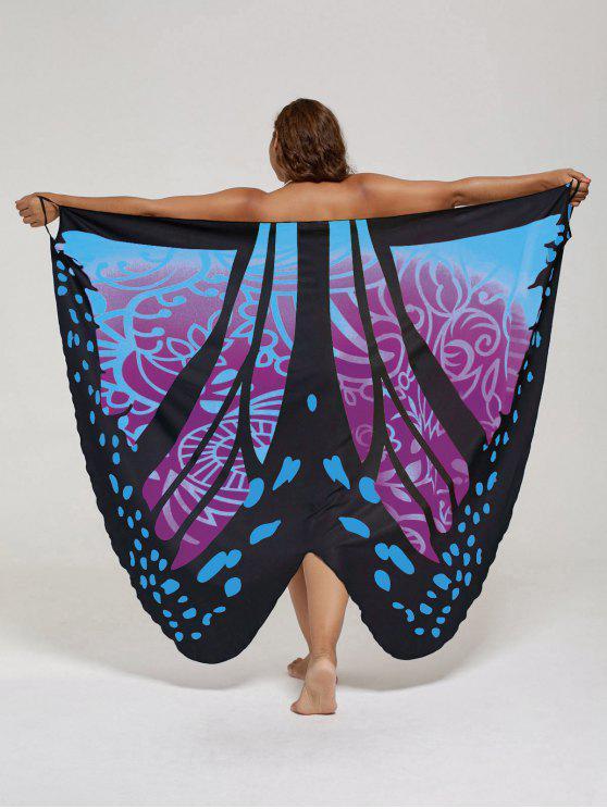 فستان الحجم الكبير طباعة الفراشة لف - البنفسجي وردة 5XL