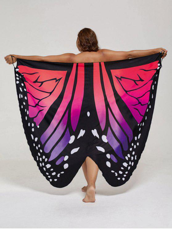 فستان الحجم الكبير طباعة الفراشة لف - أحمر 2XL