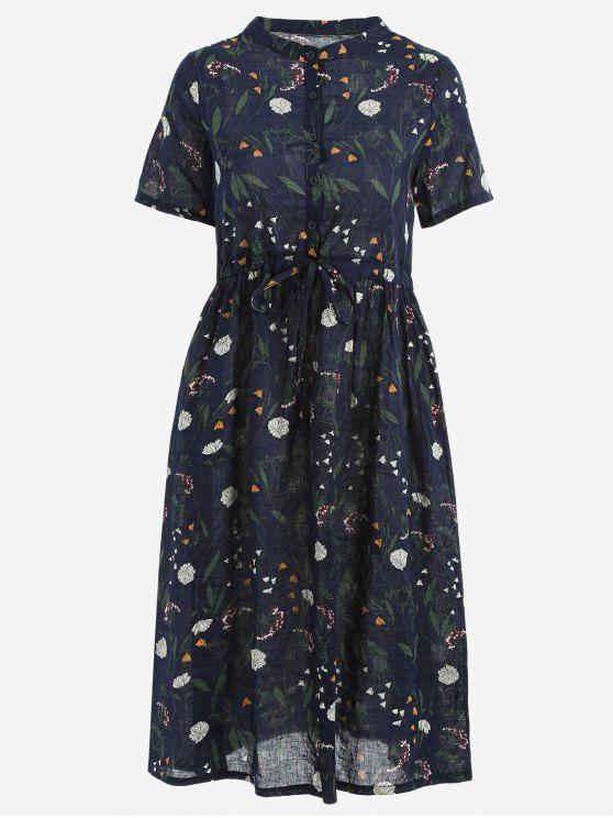 unique Floral Print Drawstring Dress - PURPLISH BLUE 2XL
