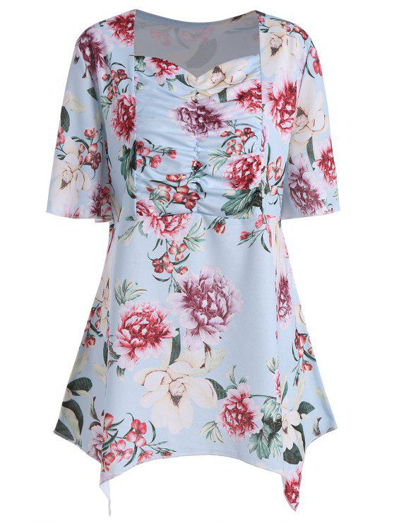 Top Asymmetrical Floral Plus - Azul claro 5XL