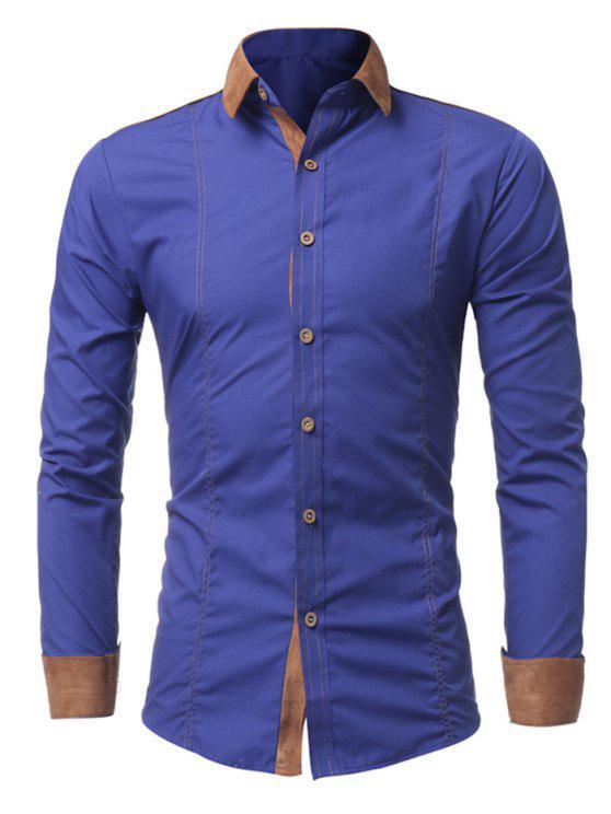 قميص سويد لوحة طويلة الأكمام - أزرق M