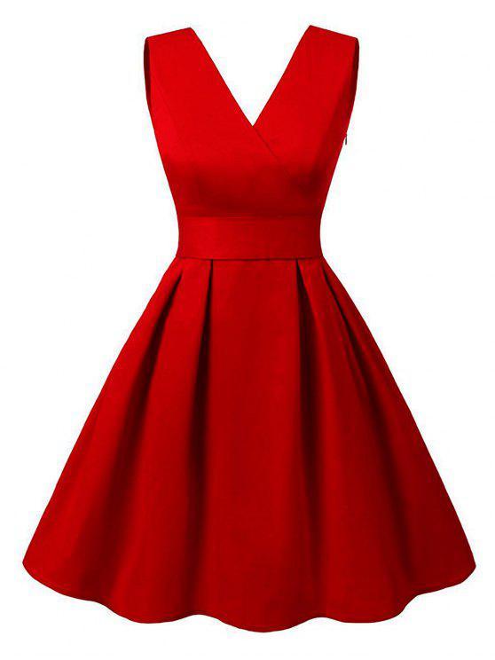 قطع V فستان كلاسيكي الرقبة - أحمر 2XL