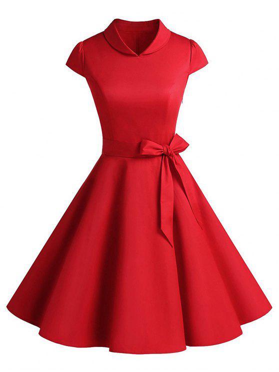 فستان كلاسيكي حفلة سوينغ - أحمر 2XL