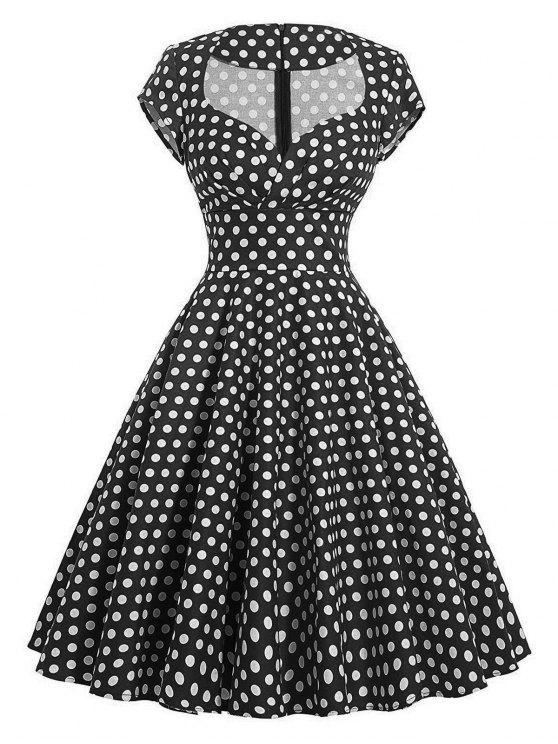 فستان كلاسيكي البولكا نقطة سوينغ - أسود 2XL
