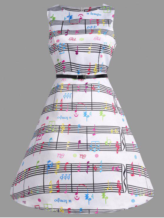 Schwang Party-Kleid mit Musik-Anmerkungs-Druck - Farbig S