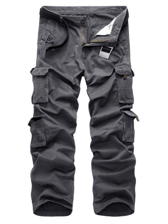 السراويل الساق مستقيم جيوب رفرف - رمادي 32