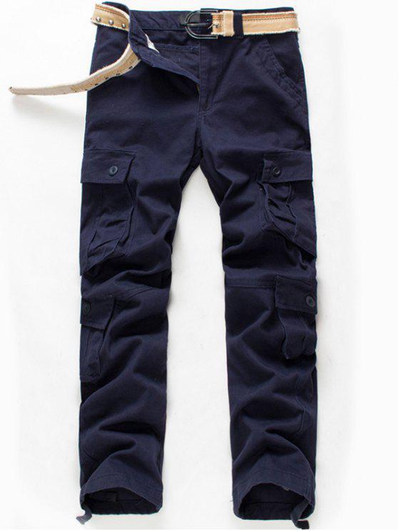 زيب يطير زر رفرف جيوب السراويل البضائع - الأرجواني الأزرق 34