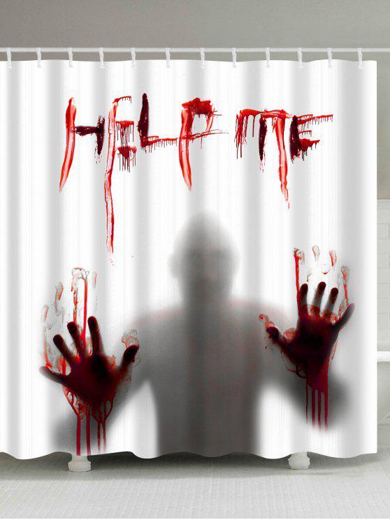 Halloween Shower Curtain | 2018 Gothic Help Me Shadow Halloween Shower Curtain In White W71