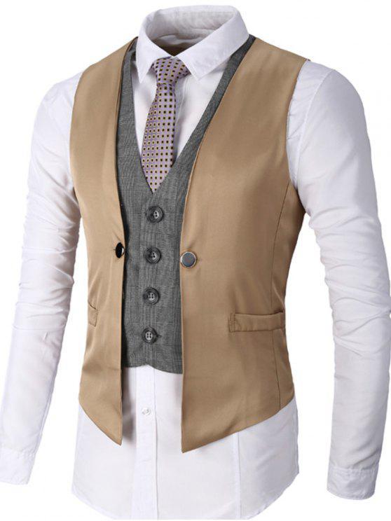 معطف صدرية بأسلوبين بالصدر الواحد - كاكي 2XL