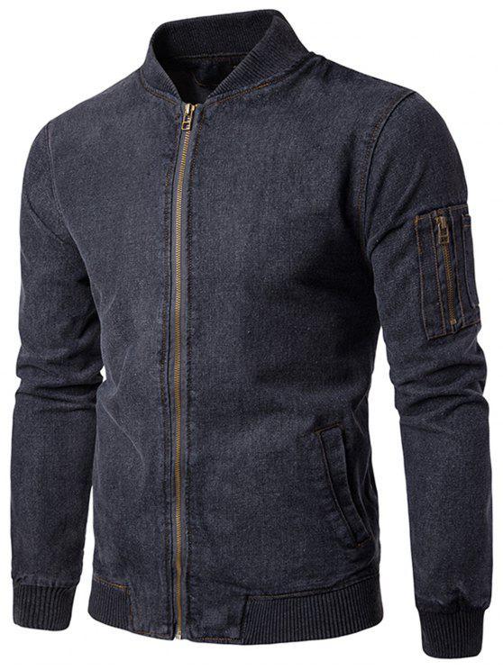 Stand Collar Zip Up Denim Jacket - Cinza XL
