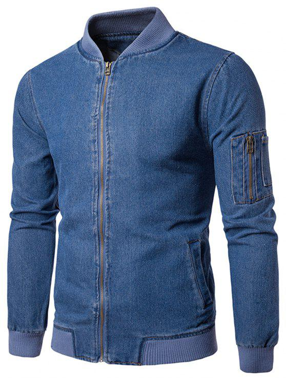 women Stand Collar Zip Up Denim Jacket - BLUE XL
