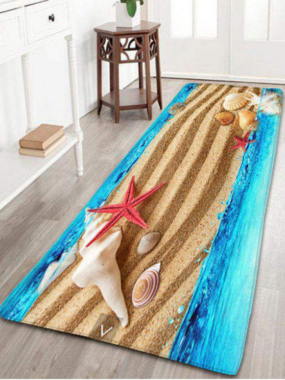 Hot Sea Beach Print Flannel Antislip Rug Sand Yellow W24 Inch L71