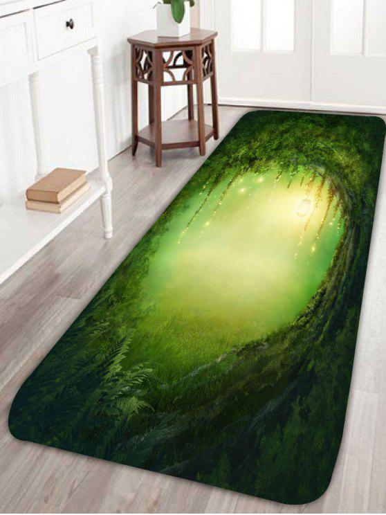 إضاءة حفرة شجرة طباعة سجادة حمام سكيدبروف - GREEN W24 بوصة * L71 بوصة