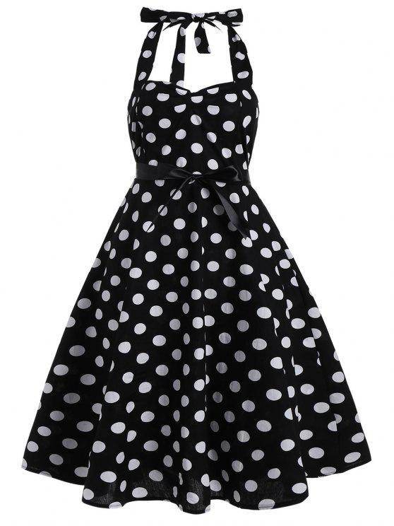 Polka Dot Plus Size Halter 50s Dress BLACK Plus Size Dresses 3XL