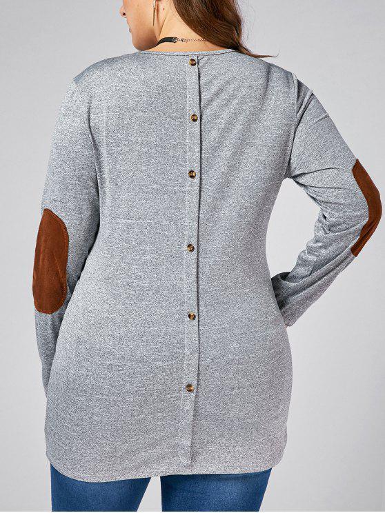 Plus Size botón de vuelta de manga larga de codo Patch T-shirt - Gris 5XL