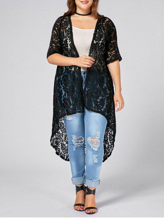 ladies Plus Size Lace Crochet Long Open Front Cardigan - BLACK 2XL