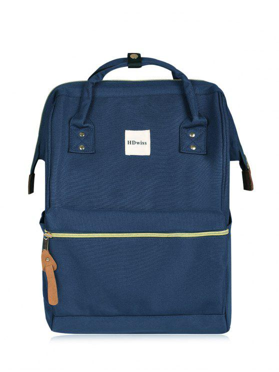 unique Casual Canvas Top Handle Backpack - DEEP BLUE