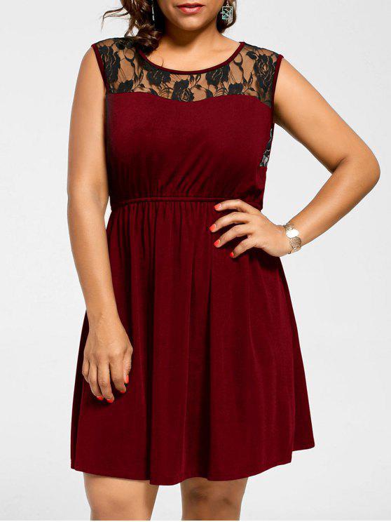 Plus Size Lace Yoke Sleeveless Skater Dress