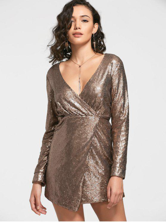 women's Sequined Prom Dress - GOLDEN L