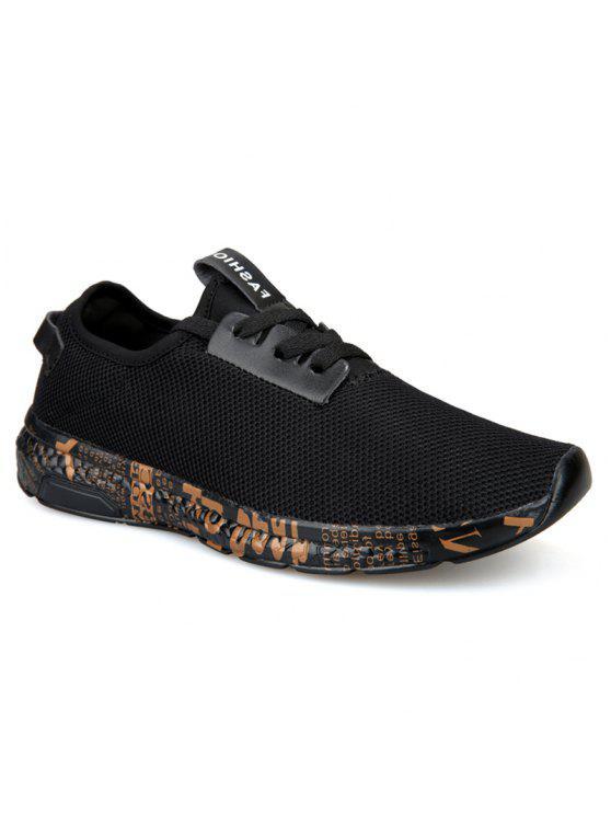 إلكتروني طباعة شبكة تنفس أحذية رياضية - الذهب الأسود 42