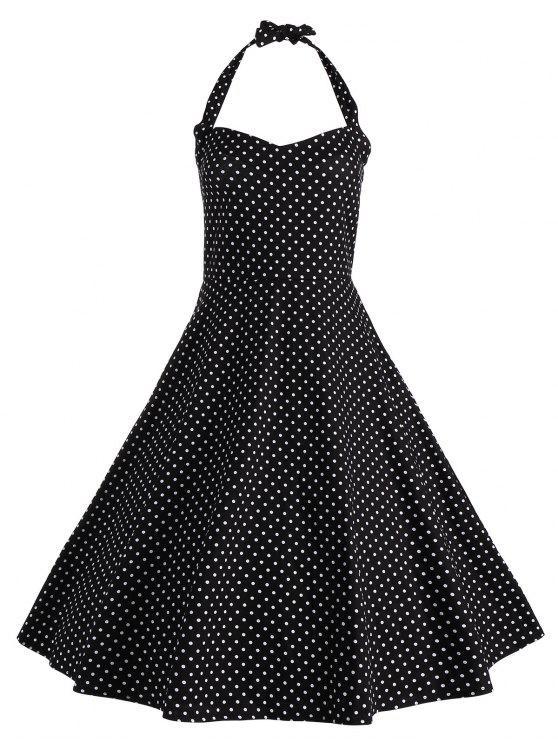 2018 Polka Dot Halter Vintage Plus Size Dress In Black 3xl Zaful