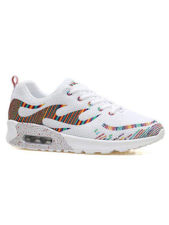 Couro Multicolor Air Athletic Shoes - Branco 39