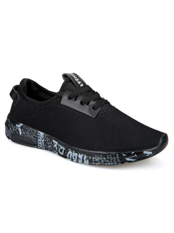 إلكتروني طباعة شبكة تنفس أحذية رياضية - أسود رمادي 43