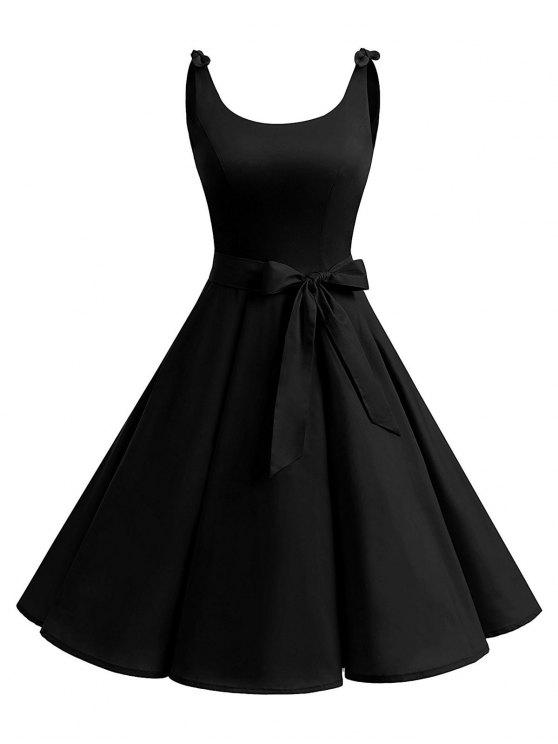 8aa15a6da5 2018 Vintage Cut Out Bowknot Party Skater Dress In BLACK XL
