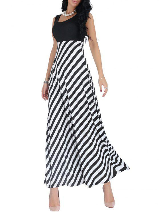 25743a5b479a 42% OFF  2019 Striped Empire Waist Sleeveless Maxi Dress In BLACK ...
