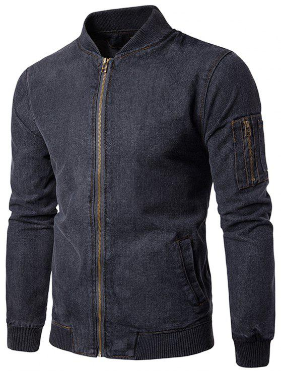 Stand Collar Zip Up Denim Jacket - Cinza M