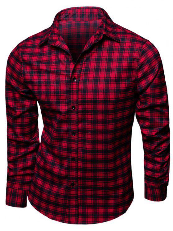قميص طوق طوق الترتان طباعة - أحمر L